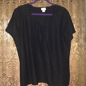 Jaclyn Smith Black Short Sleeve Top